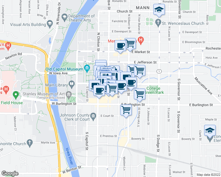 map of restaurants, bars, coffee shops, grocery stores, and more near 201 East Washington Street in Iowa City