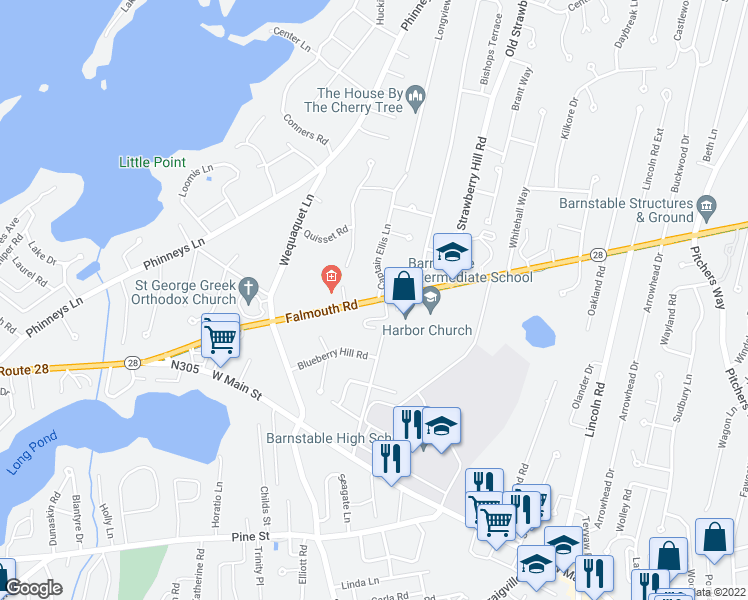 map of restaurants, bars, coffee shops, grocery stores, and more near 205-219 Old Strawberry Hill Road in Barnstable