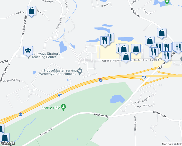 map of restaurants, bars, coffee shops, grocery stores, and more near 11334 Patriot Way in West Greenwich
