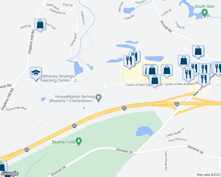 map of restaurants, bars, coffee shops, grocery stores, and more near 2224 Patriot Way in West Greenwich