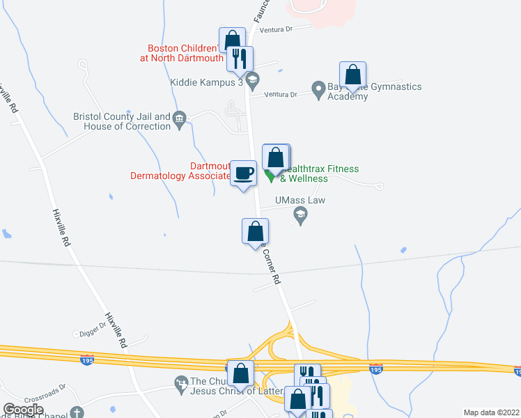 map of restaurants, bars, coffee shops, grocery stores, and more near 367-375 Faunce Corner Road in Dartmouth