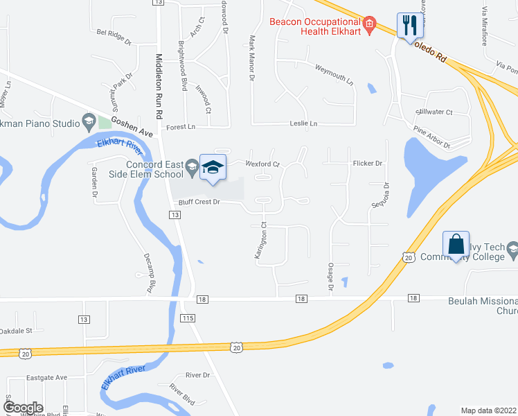 map of restaurants, bars, coffee shops, grocery stores, and more near 23170 Karington Court in Elkhart
