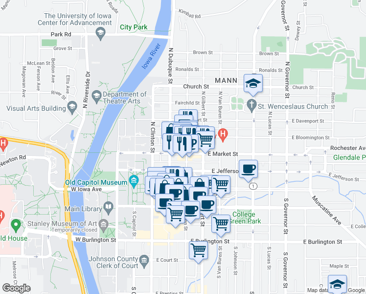 map of restaurants, bars, coffee shops, grocery stores, and more near 211 North Linn Street in Iowa City