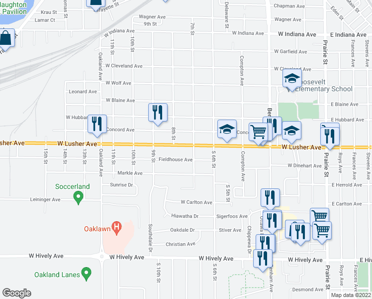 map of restaurants, bars, coffee shops, grocery stores, and more near 711 West Lusher Avenue in Elkhart