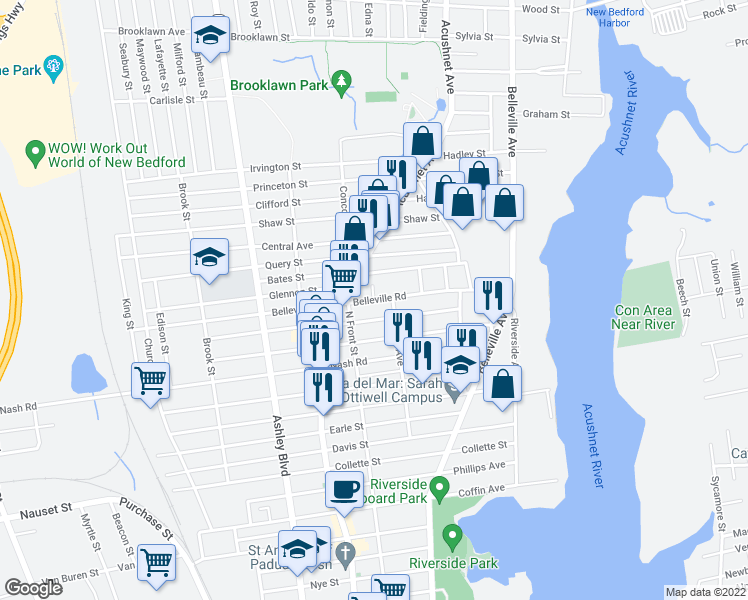 map of restaurants, bars, coffee shops, grocery stores, and more near Belleville Road & Brightman Court in New Bedford