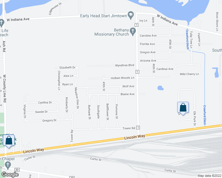 map of restaurants, bars, coffee shops, grocery stores, and more near 30188 Wolf Avenue in Elkhart