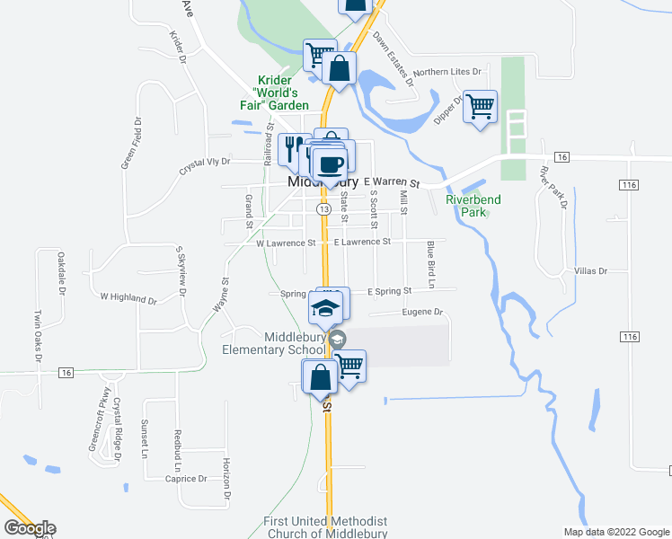 map of restaurants, bars, coffee shops, grocery stores, and more near 312 S Main St in Middlebury