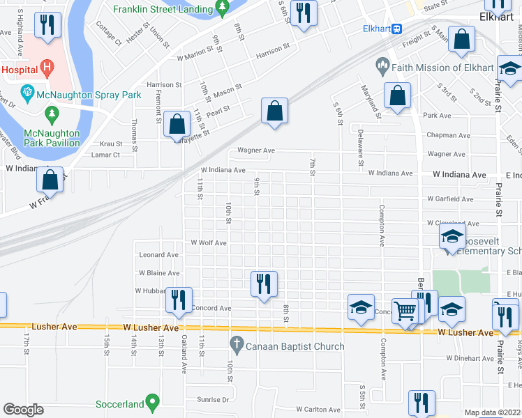 map of restaurants, bars, coffee shops, grocery stores, and more near 1616 9th Street in Elkhart