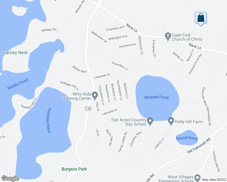 map of restaurants, bars, coffee shops, grocery stores, and more near Blueberry Lane in Barnstable