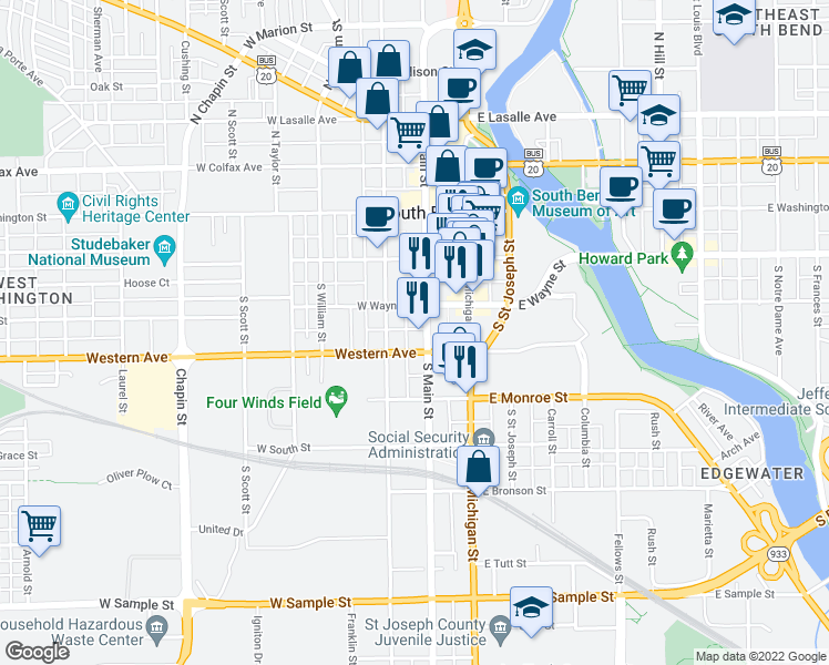 map of restaurants, bars, coffee shops, grocery stores, and more near 321 South Main Street in South Bend