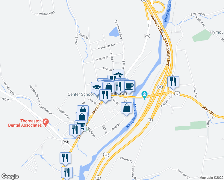 map of restaurants, bars, coffee shops, grocery stores, and more near 20 Main Street in Thomaston