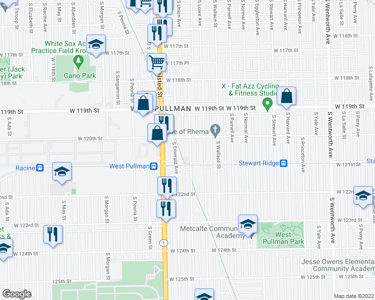 map of restaurants, bars, coffee shops, grocery stores, and more near 12026 South Union Avenue in Chicago