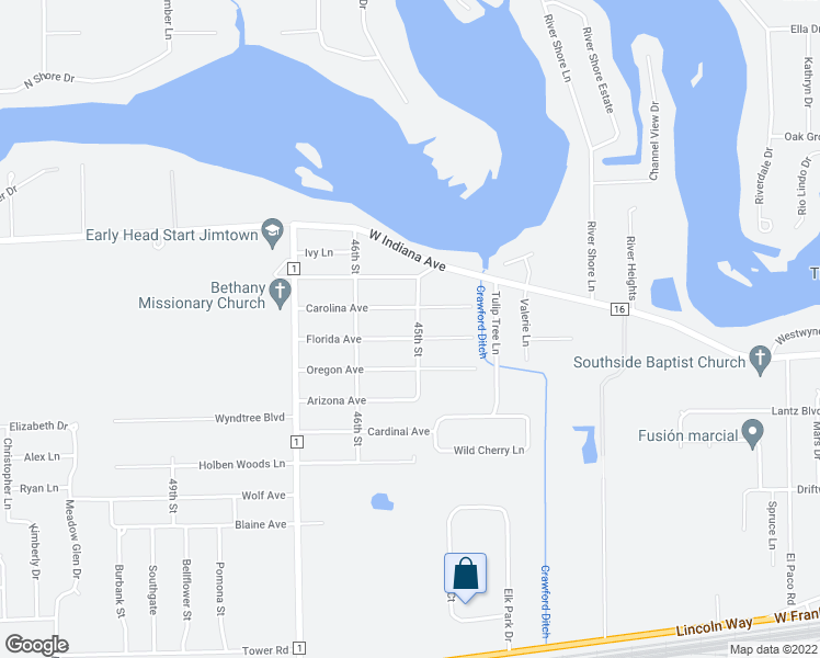 map of restaurants, bars, coffee shops, grocery stores, and more near 29769 Florida Avenue in Elkhart