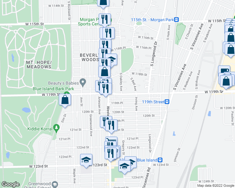 map of restaurants, bars, coffee shops, grocery stores, and more near West 119th Street in Blue Island