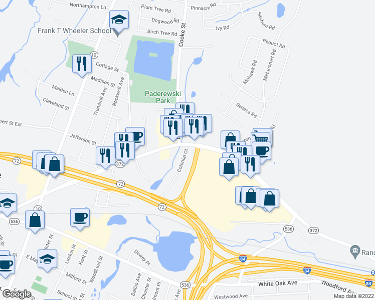 map of restaurants, bars, coffee shops, grocery stores, and more near Colonial Court in Plainville