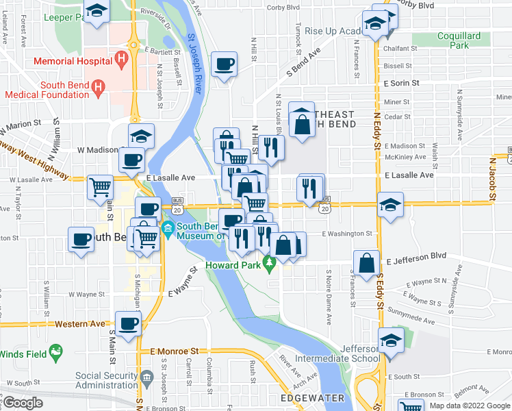 map of restaurants, bars, coffee shops, grocery stores, and more near E Colfax Ave & N Hill St in South Bend
