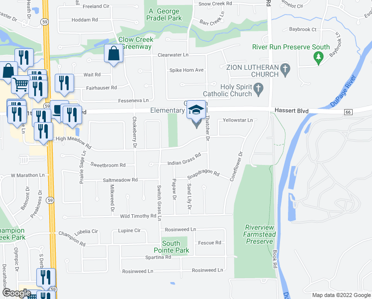 map of restaurants, bars, coffee shops, grocery stores, and more near 2328 High Meadow Road in Naperville