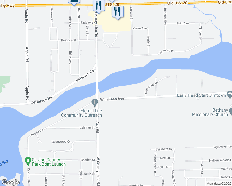 map of restaurants, bars, coffee shops, grocery stores, and more near 30829 County Road 16 in Elkhart