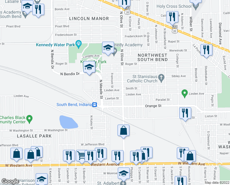 map of restaurants, bars, coffee shops, grocery stores, and more near 2422 Linden Avenue in South Bend