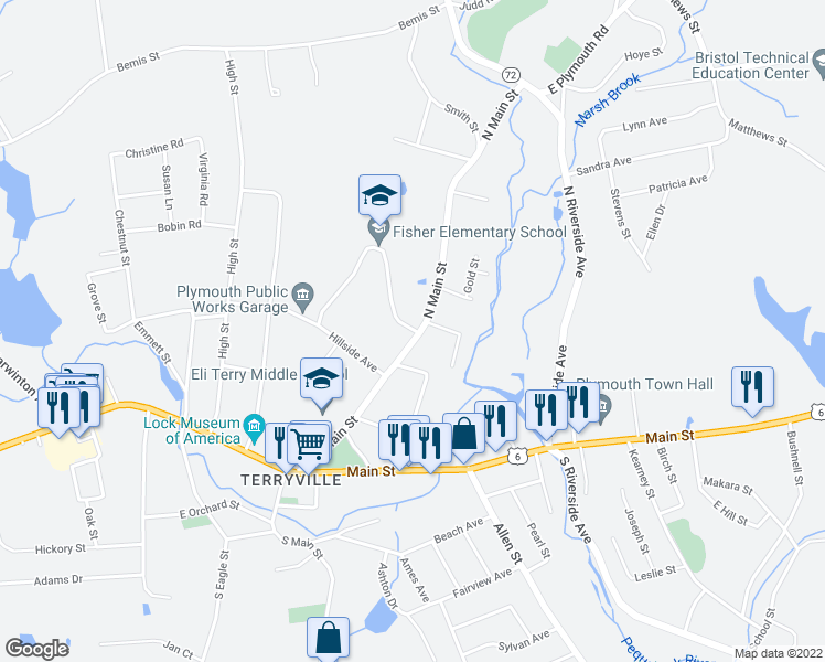 map of restaurants, bars, coffee shops, grocery stores, and more near 59-65 North Main Street in Plymouth