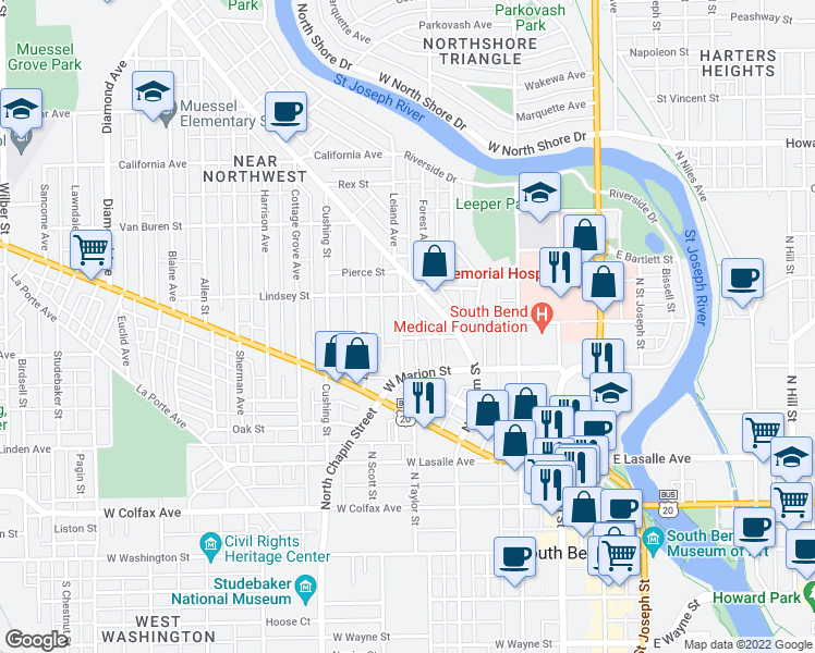 map of restaurants, bars, coffee shops, grocery stores, and more near 608 Leland Avenue in South Bend