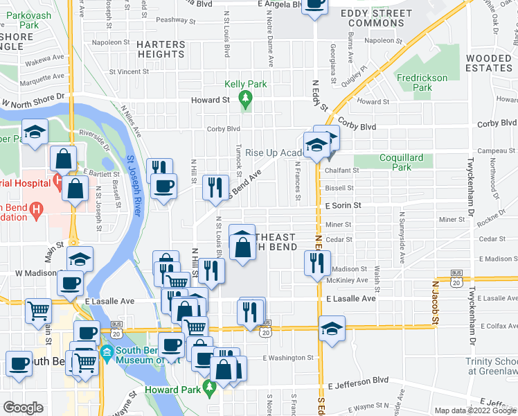 map of restaurants, bars, coffee shops, grocery stores, and more near 825 East Sorin Street in South Bend