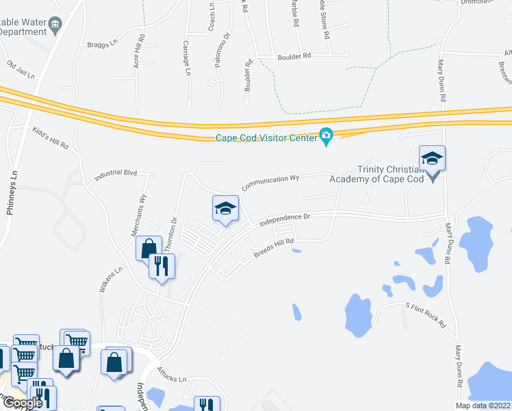 map of restaurants, bars, coffee shops, grocery stores, and more near 265 Communication Way in Barnstable