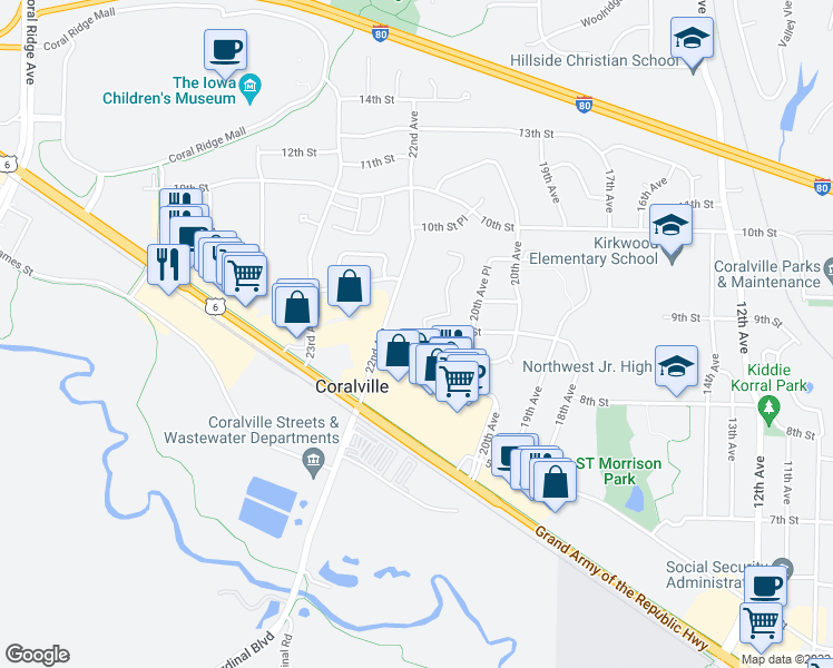 map of restaurants, bars, coffee shops, grocery stores, and more near 2101 9th Street in Coralville