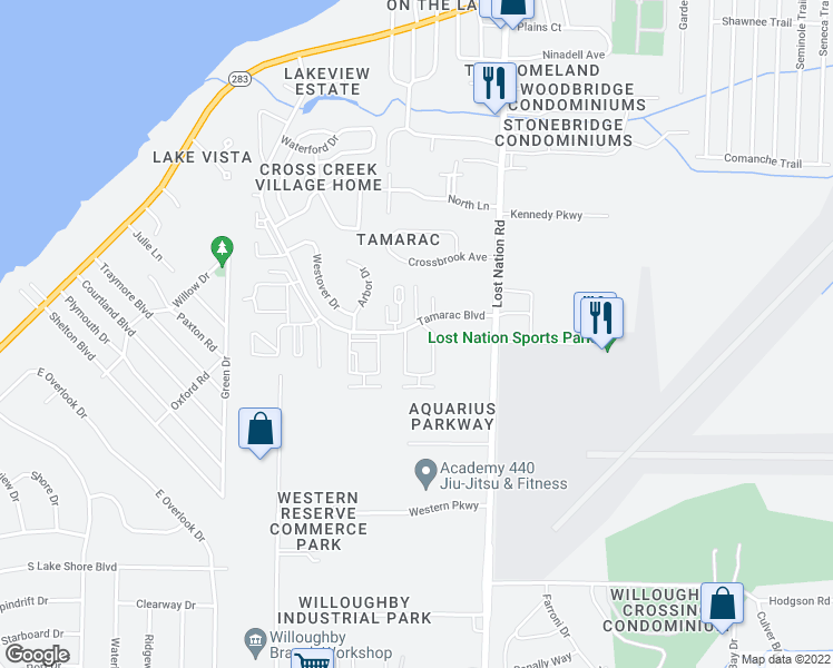 map of restaurants, bars, coffee shops, grocery stores, and more near 38360 Tamarac Boulevard in Willoughby