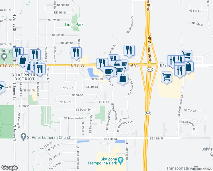 map of restaurants, bars, coffee shops, grocery stores, and more near 310 Southeast Gateway Drive in Grimes