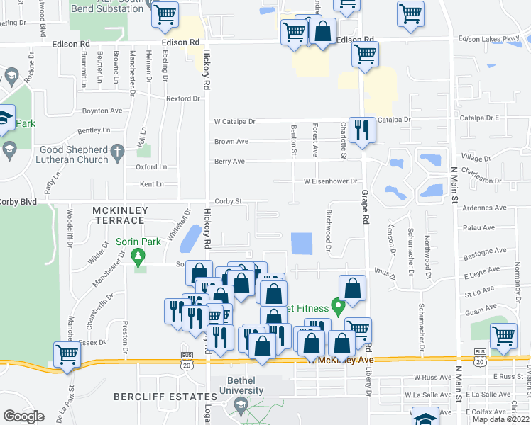 map of restaurants, bars, coffee shops, grocery stores, and more near 806 Green Pine Court in Mishawaka