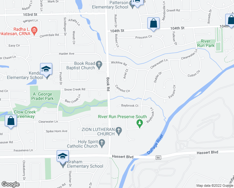 map of restaurants, bars, coffee shops, grocery stores, and more near 4351 Camelot Circle in Naperville