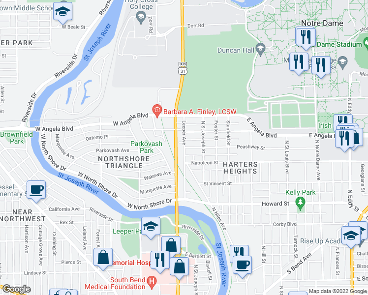 map of restaurants, bars, coffee shops, grocery stores, and more near 1213 Leeper Avenue in South Bend
