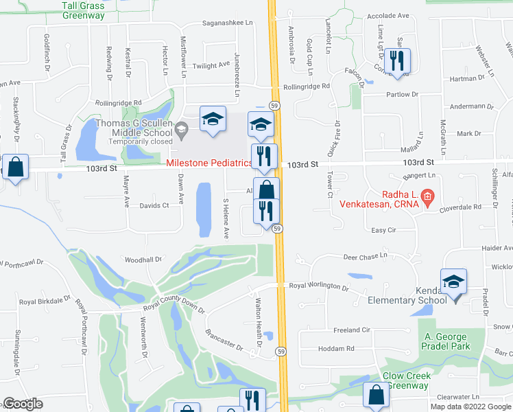 map of restaurants, bars, coffee shops, grocery stores, and more near 4147 Royal Mews Circle in Naperville