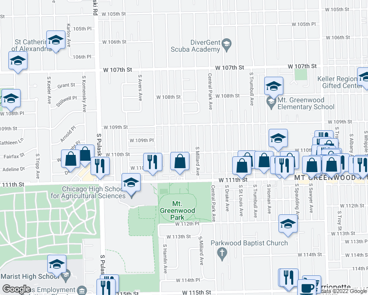 map of restaurants, bars, coffee shops, grocery stores, and more near South Lawndale Avenue in Chicago