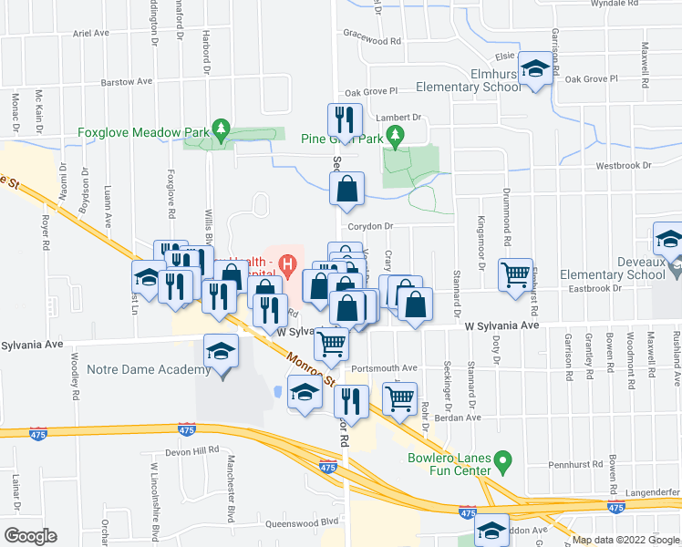 map of restaurants, bars, coffee shops, grocery stores, and more near 4201-4205 Secor Road in Toledo