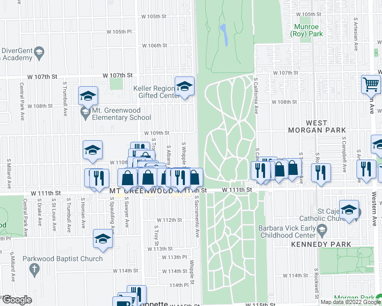map of restaurants, bars, coffee shops, grocery stores, and more near 10943 South Whipple Street in Chicago