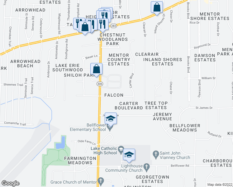 map of restaurants, bars, coffee shops, grocery stores, and more near 7409 Faye Lane in Mentor