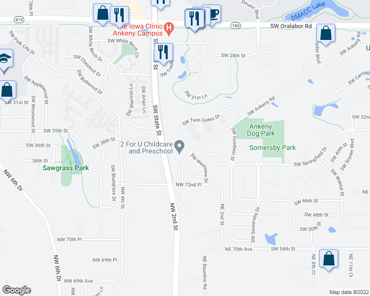 map of restaurants, bars, coffee shops, grocery stores, and more near 1558 Southwest Twin Gates Drive in Ankeny