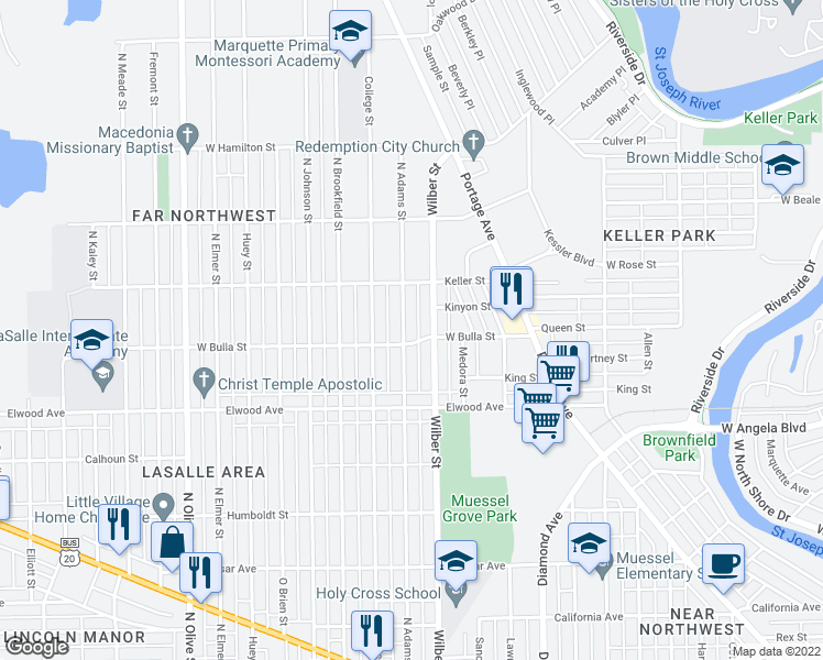 map of restaurants, bars, coffee shops, grocery stores, and more near 1612 North Adams Street in South Bend