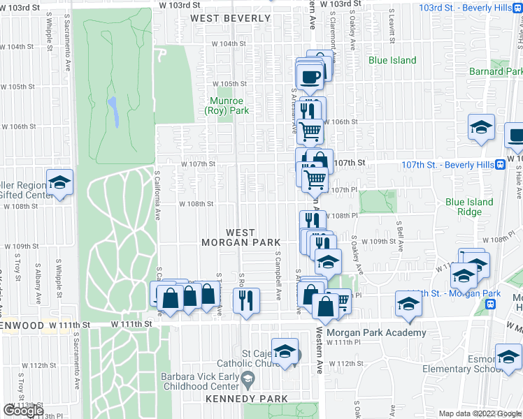 map of restaurants, bars, coffee shops, grocery stores, and more near 10811 South Maplewood Avenue in Chicago