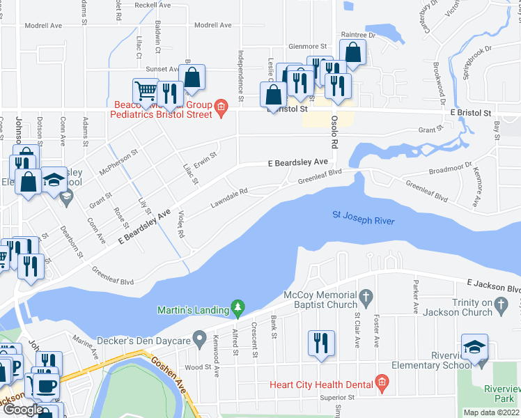 map of restaurants, bars, coffee shops, grocery stores, and more near 1601 Greenleaf Boulevard in Elkhart