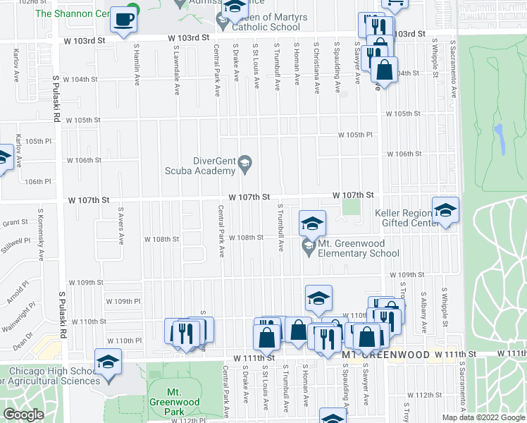 map of restaurants, bars, coffee shops, grocery stores, and more near 10733 South Saint Louis Avenue in Chicago