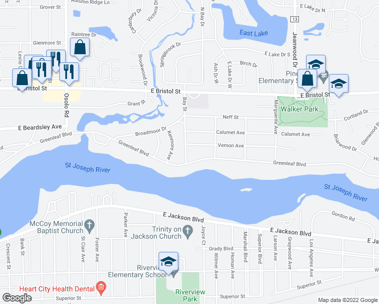 map of restaurants, bars, coffee shops, grocery stores, and more near 1122 Bay Street in Elkhart