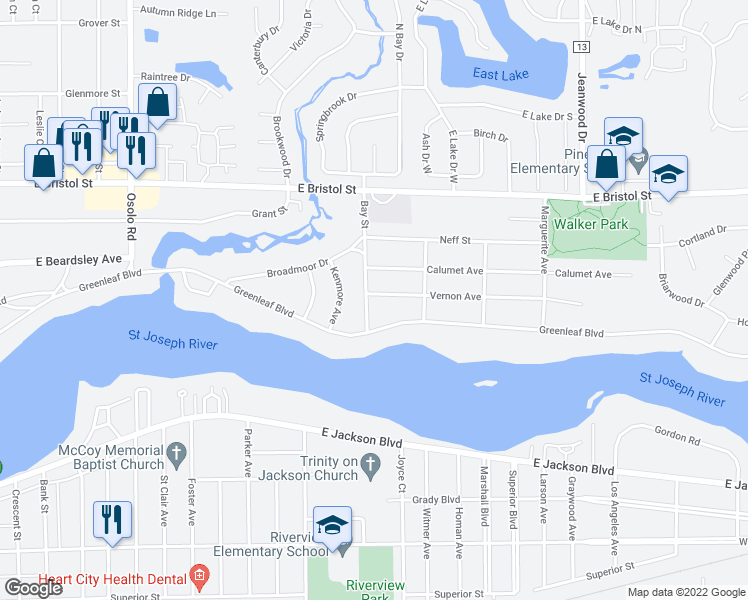 map of restaurants, bars, coffee shops, grocery stores, and more near 1128 Bay Street in Elkhart