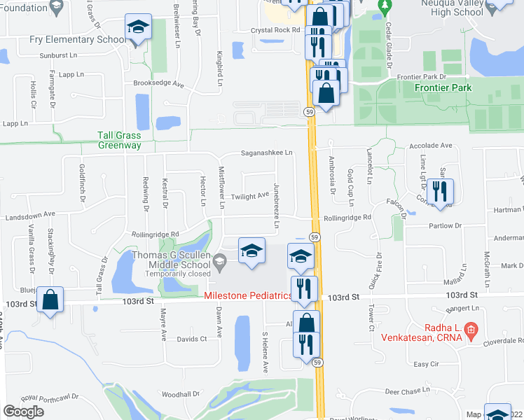 map of restaurants, bars, coffee shops, grocery stores, and more near 3011 Rollingridge Road in Naperville