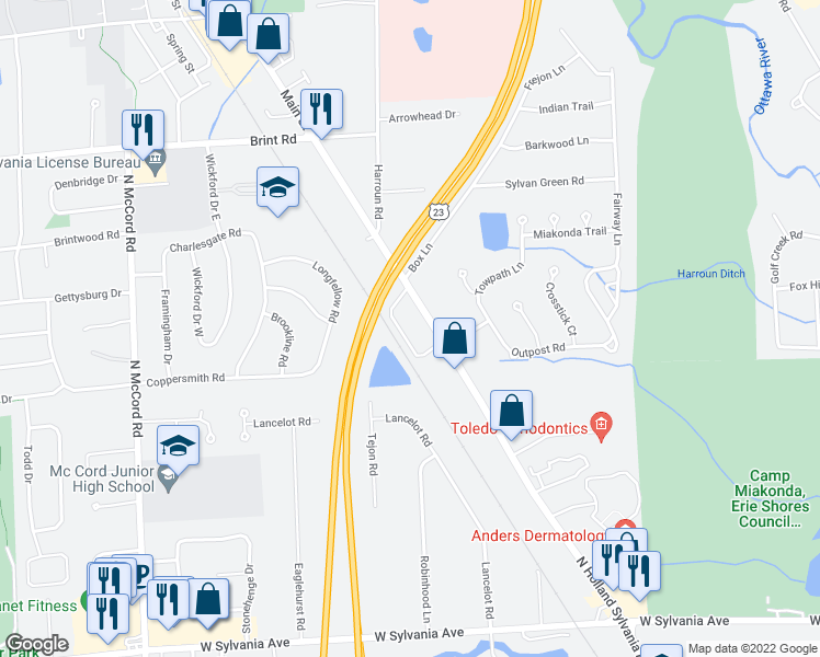 map of restaurants, bars, coffee shops, grocery stores, and more near 4615 North Holland Sylvania Road in Toledo