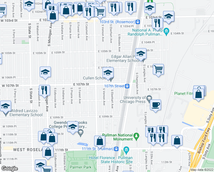 map of restaurants, bars, coffee shops, grocery stores, and more near 441 East 107th Street in Chicago