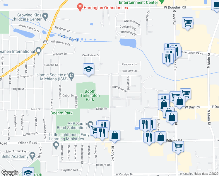 map of restaurants, bars, coffee shops, grocery stores, and more near 4312 North Hickory Road in Mishawaka