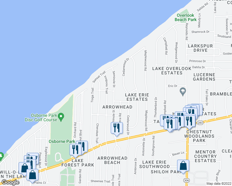 map of restaurants, bars, coffee shops, grocery stores, and more near 6147 Seminole Trail in Mentor